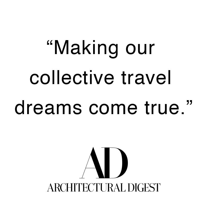 "Arlo Skye was featured in Architectural Digest. The quote from Architectural Digest is: ""[Arlo Skye x Dusen Dusen collab is ] Making our collective travel dreams come true."""
