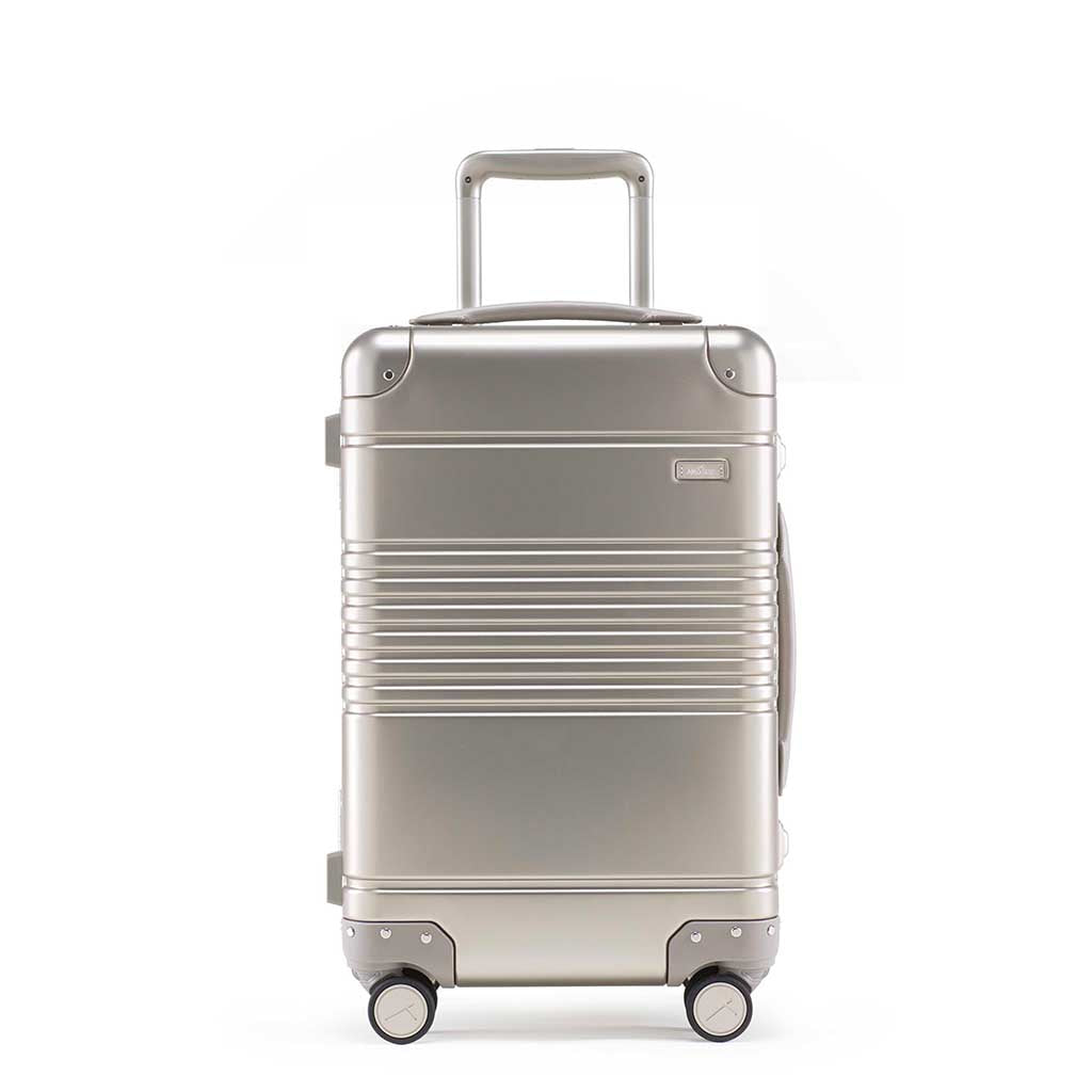 Front view of the frame carry-on in champagne aluminum edition