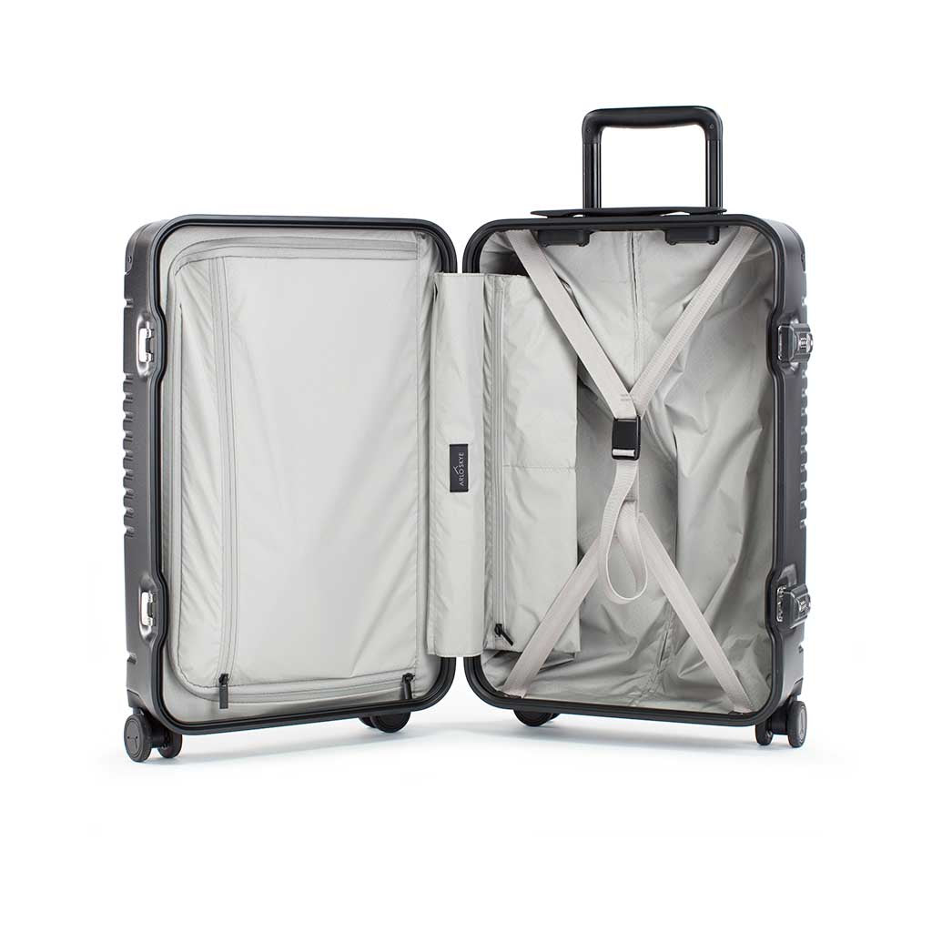 Open frame carry-on max in black showing both sides of the interior