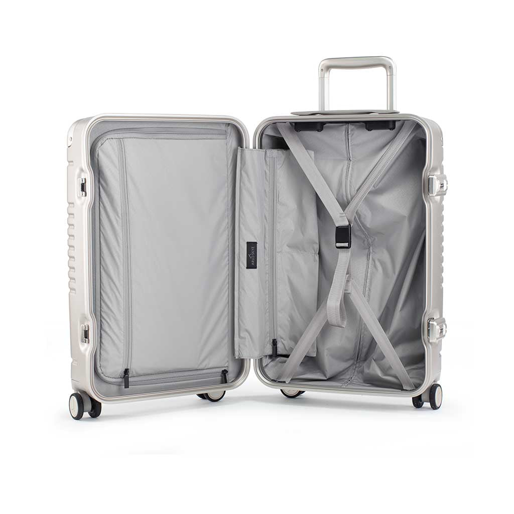 Open frame carry-on max in champagne bag showing both sides of the interior