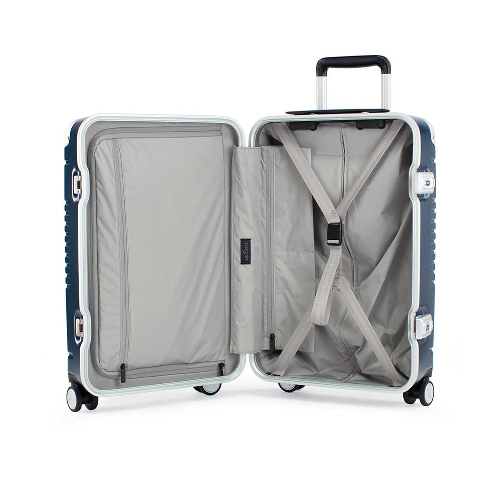 Open frame carry-on max in navy blue bag showing both sides of the interior