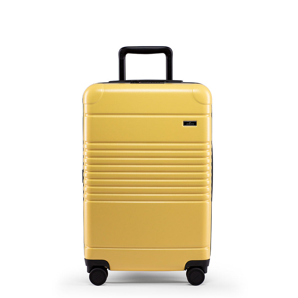 Front view of the zipper carry-on max  in yellow