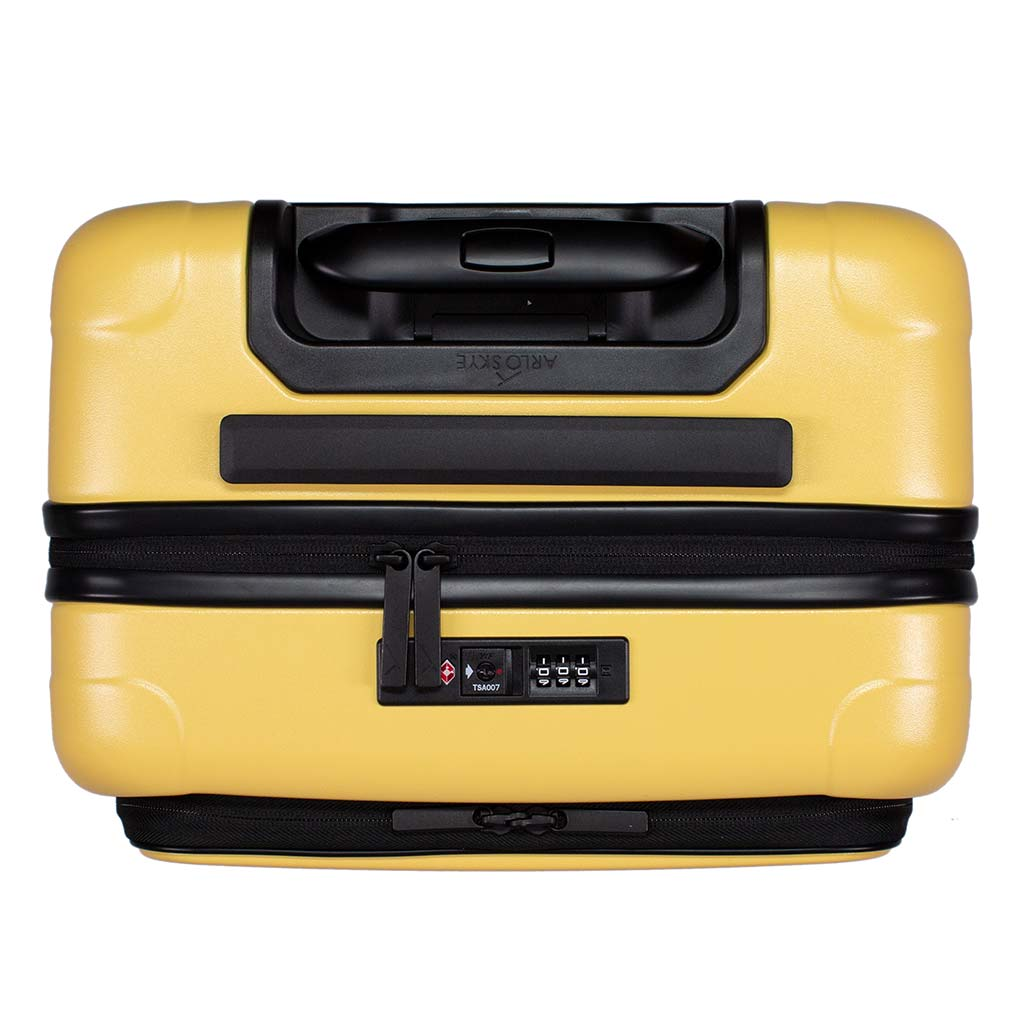 Top view of the zipper carry-on max with front pocket in yellow