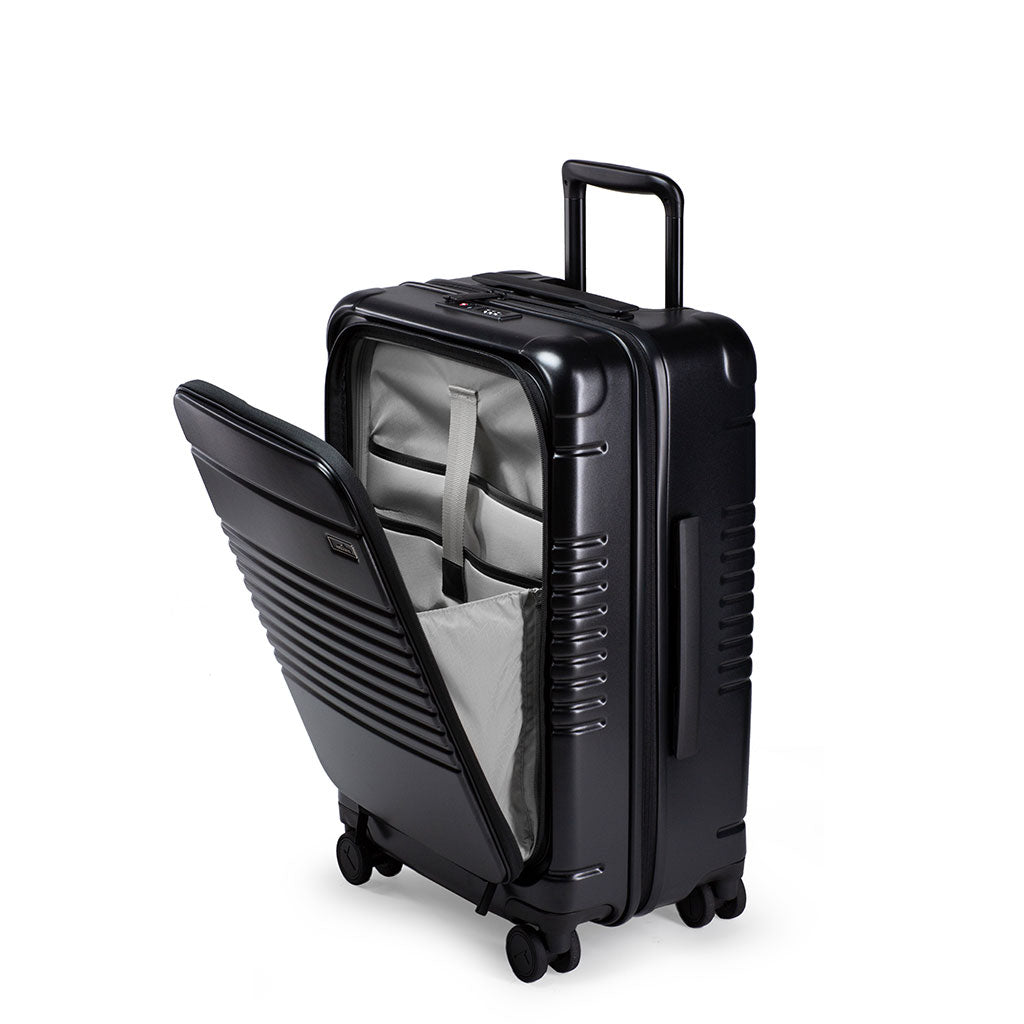 Left facing view of the zipper carry-on max with front pocket in black