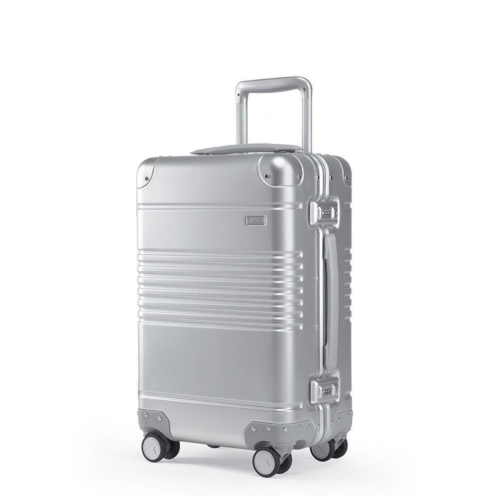 Left facing view of the frame carry-on in silver aluminum edition