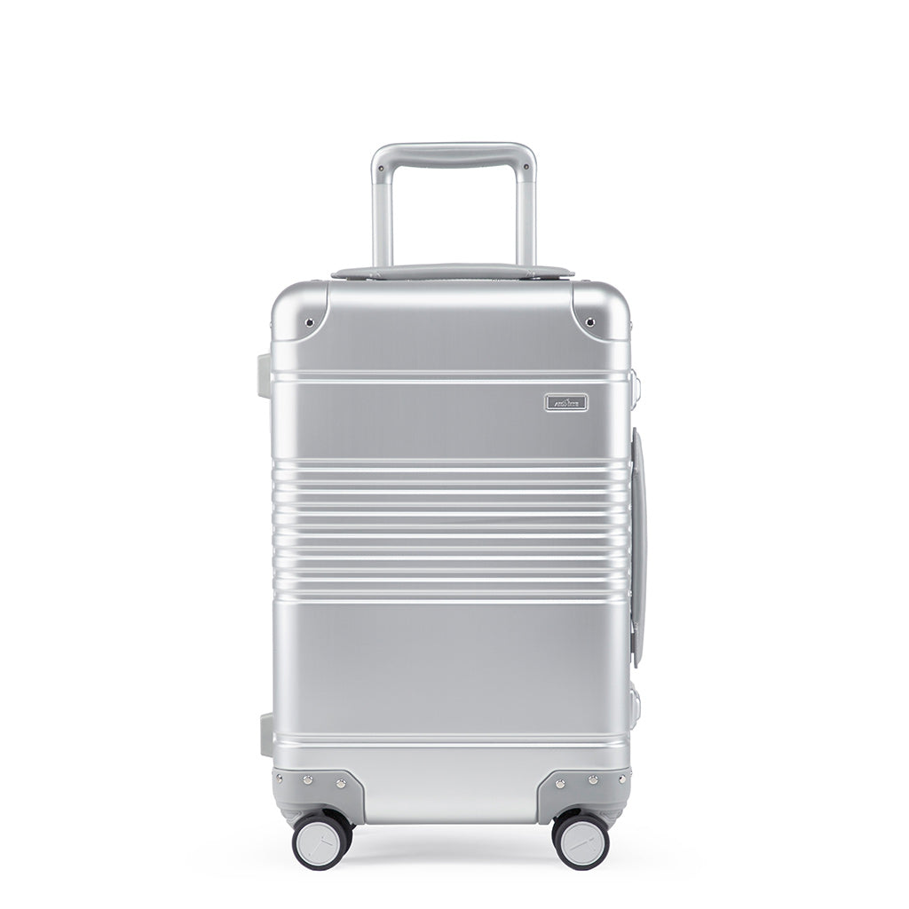 Front view of the frame carry-on in silver aluminum edition