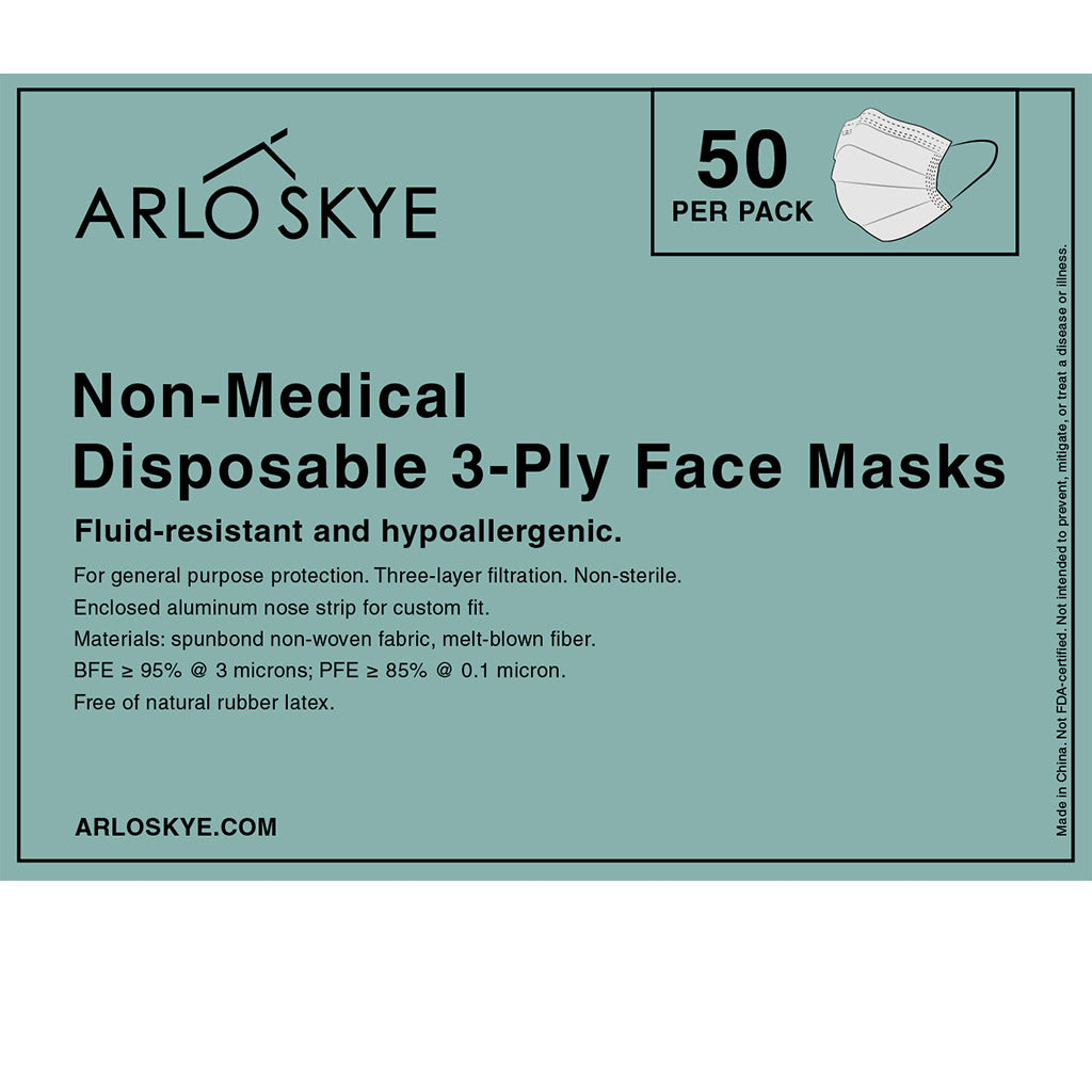 50 Non-Medical Disposable 3-Ply Face Masks