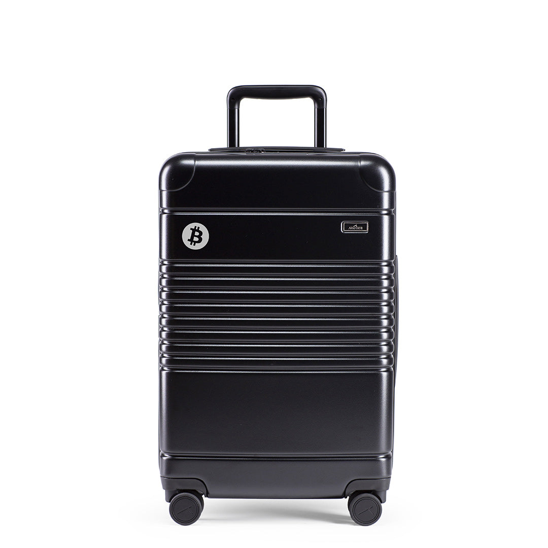 Bitcoin Symbol Marking on Black Carry-On