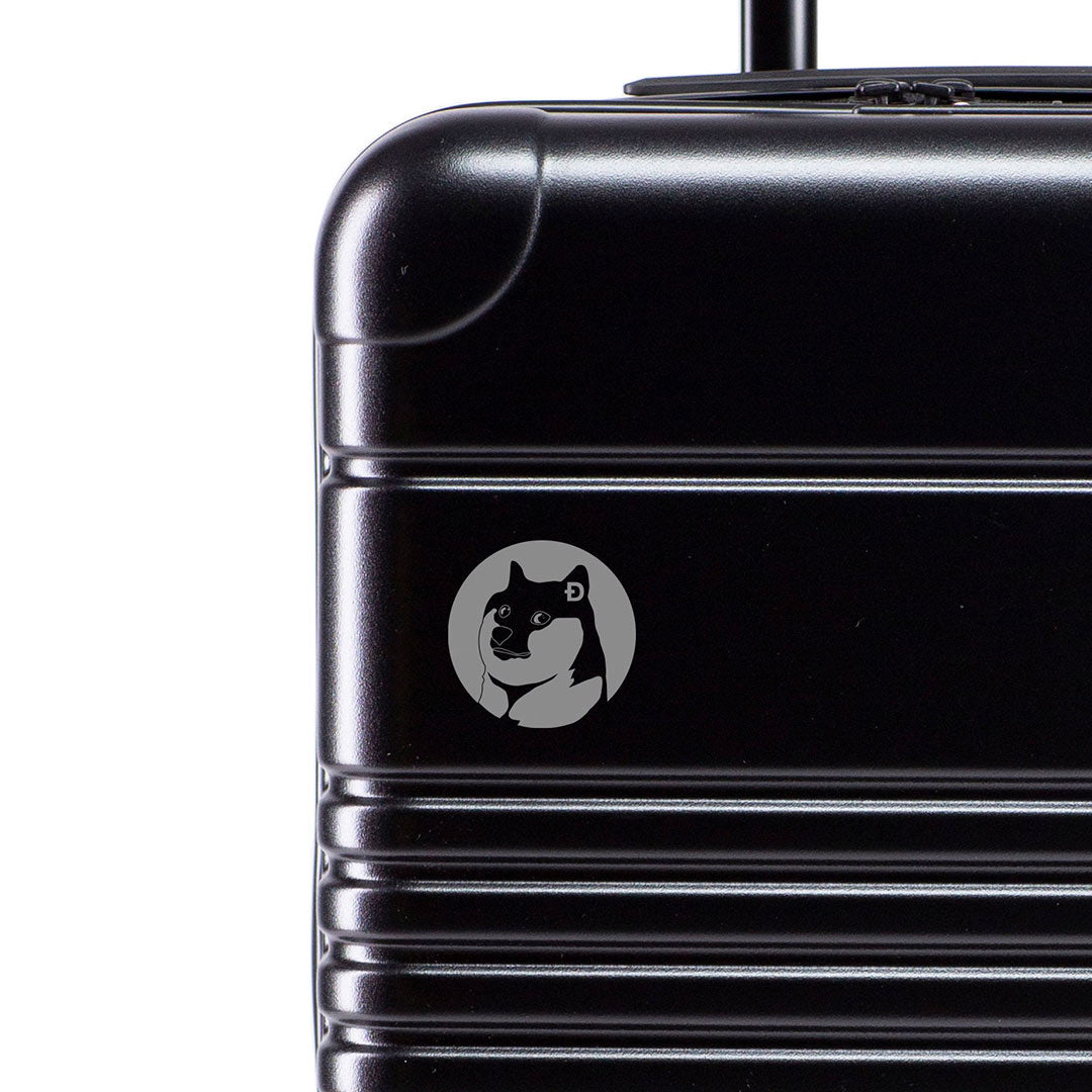 Dogecoin Symbol Marking Closeup on Black Carry-On