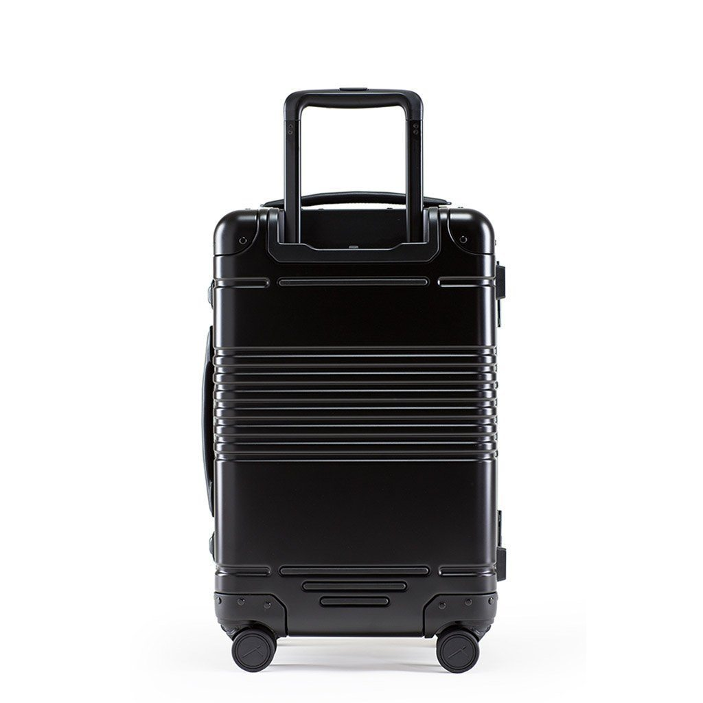 Back view of the frame carry-on in black aluminum edition