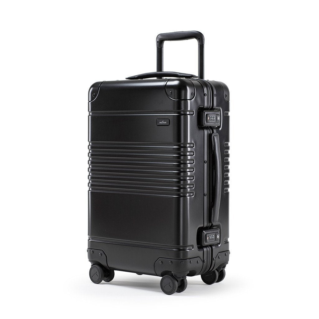 Left facing view of the frame carry-on in black  aluminum edition