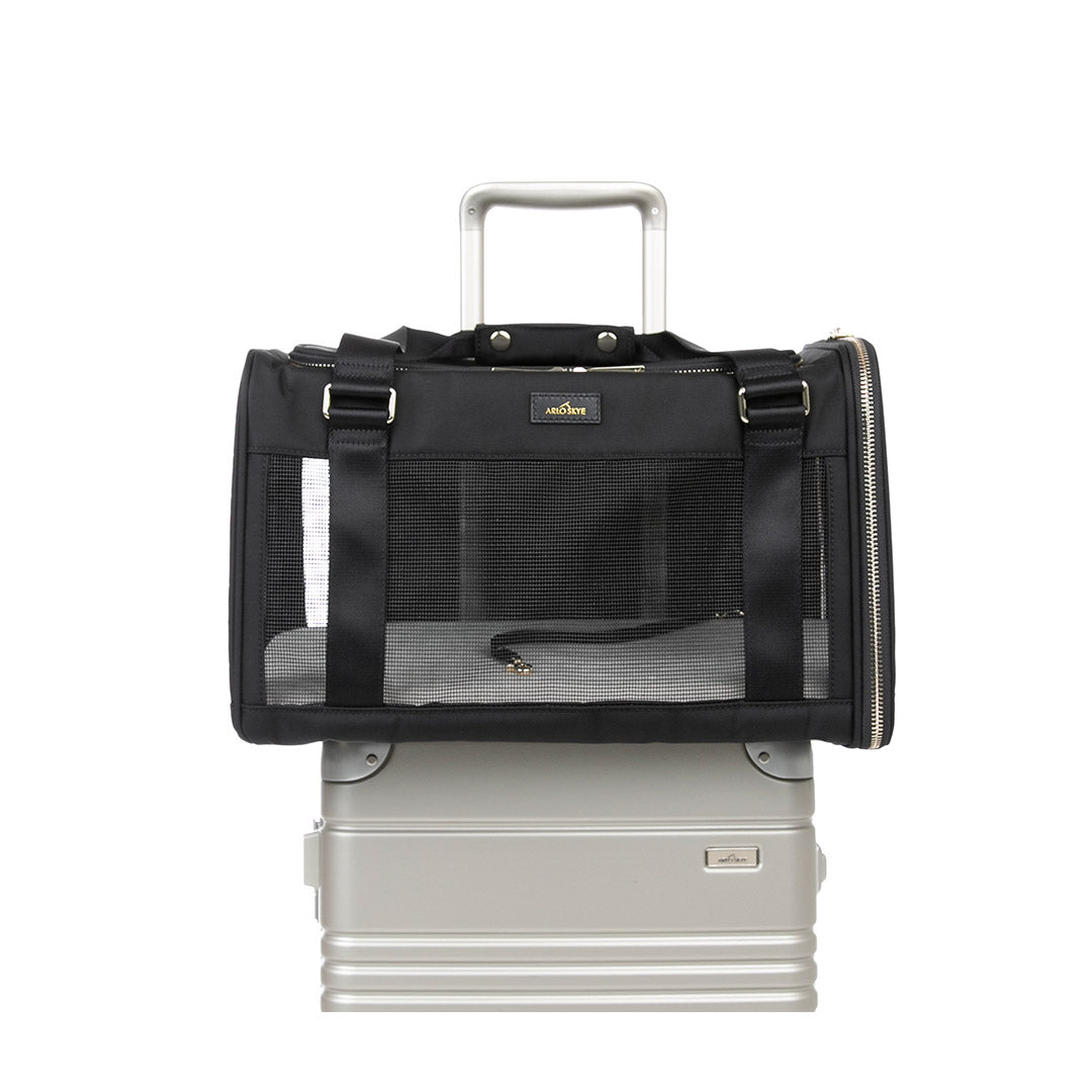 Large Pet carrier front facing view place on top of a frame carry-on