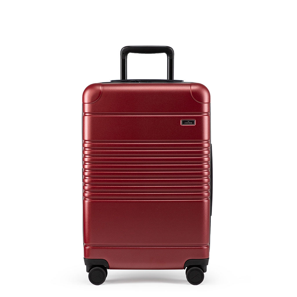 Front view of the zipper carry-on max  in garnet