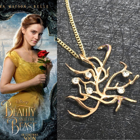 Beauty and the Beast Belle Rose Tree Pendant