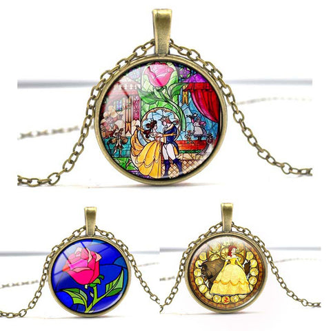 Beauty and the Beast Glass Art Pendant