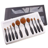 10 Pcs Oval Makeup Brush Set - The Luxe Beauty Co.