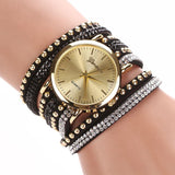 Leather Crystal Bracelet Watch - The Luxe Beauty Co.