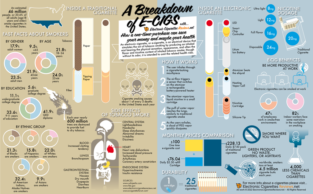 The E-Cigarette Infograph Break Down Showing The Facts On Traditional Cigarettes Versus Vape Pen