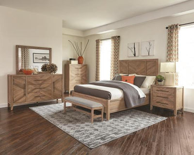 Auburn 4 Pieces Bedroom Set - White Washed Natural, Queen - Wayne's Outlet