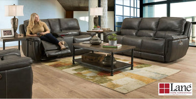 Lane Furniture Barron Top Grain Leather Double Power (P2) Recliner Sofa and Loveseat - Wayne's Outlet