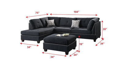 Black Reversible Sectional Trimmed With Nickel Finished Nailhead and Ottoman - Wayne's Outlet