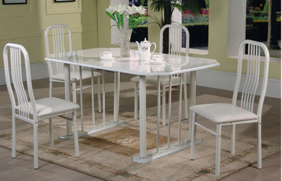 MARBELLA 5PC ALMOND MARBLE TOP WELDED DINETTE - Wayne's Outlet
