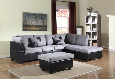 LIBERTY FABRIC/LEATHER SECTIONAL WITH OTTOMAN - Wayne's Outlet