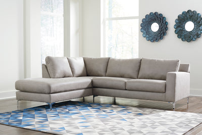 Signature Design by Ryler Sectional in Light Gray - Wayne's Outlet