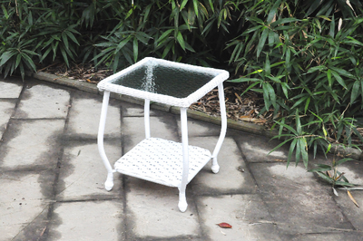 Wicker Side Table, White - Wayne's Outlet