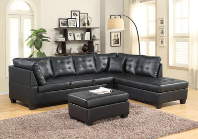WOLFE FAUX LEATHER  SECTIONAL WITH OTTOMAN - Wayne's Outlet