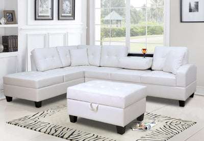 CHESTER FAUX LEATHER SECTIONAL WITH OTTOMAN - Wayne's Outlet