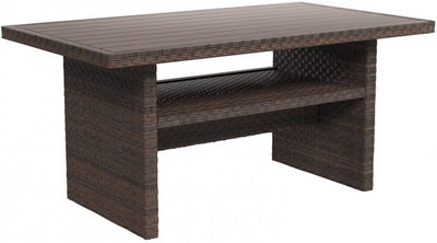Hampton Dew Four Piece Outdoor or Living Room Sectional with Full Size Dining Table - Wayne's Outlet