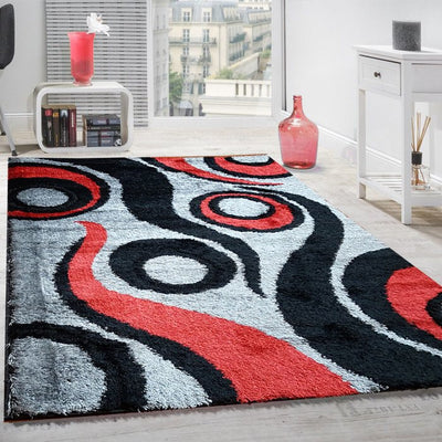 Gloria Shaggy Double Layer Area Rug, Gray and Red Swirls - Wayne's Outlet