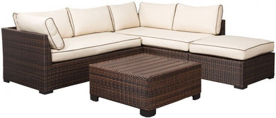 Harbor Cove Beige and Brown Outdoor Sectional with Table and Ottoman - Wayne's Outlet