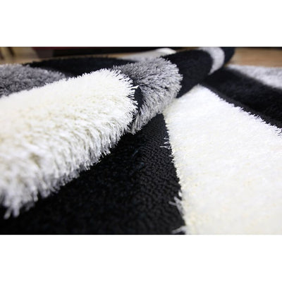 Gloria Shaggy Double Layer Area Rug, Black And White Waves - Wayne's Outlet