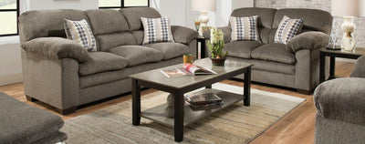 Simmons Upholstery Harlow Ash Sofa and Loveseat - Wayne's Outlet