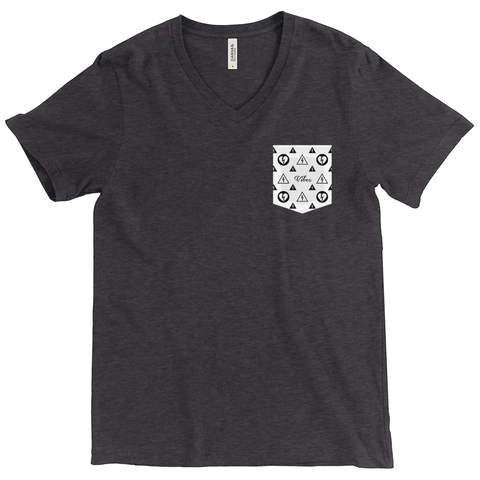 Vibes Pocket Print - Tri-Blend V Neck