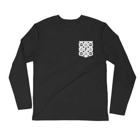 DNGR Pocket Print - Long Sleeve Fitted Crew