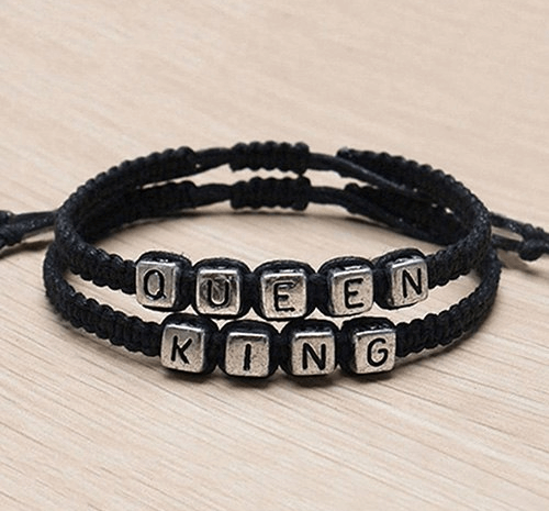 Handmade King and Queen Braided Bracelet Set