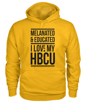 Melanated & Educated - I Love My HBCU Hoodie (Black Text)