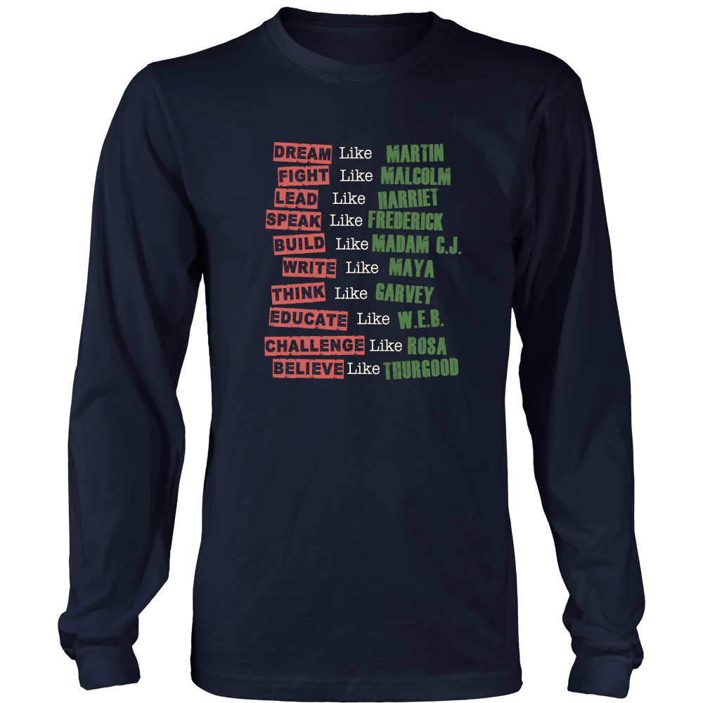 Fight Like Melanin Icons Long Sleeve T-Shirt