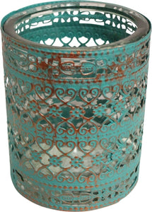 Hurricane Candle Holder Large  - Teal