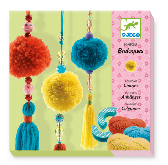 Pompoms and beads wool craft