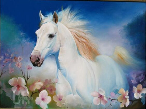 Diamond painting White horse and flowers - Gift-Frog