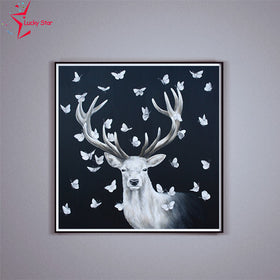 Diamond painting deer and butterflies pattern - Gift-Frog