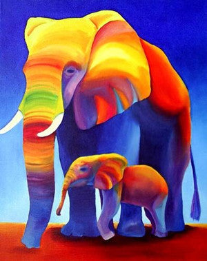 Diamond Painting Elephant mom with one baby - Gift-Frog