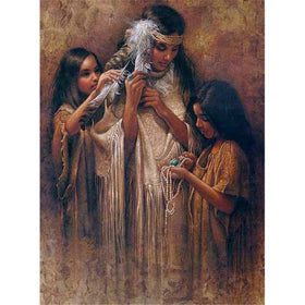 Diamond painting Native Lady with two girls - Gift-Frog