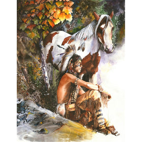 Diamond Painting Native man sitting beside horse - Gift-Frog