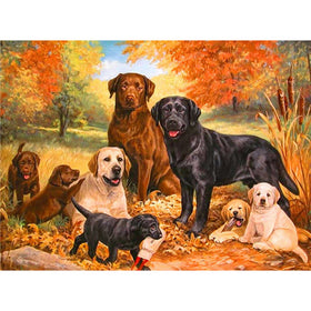Diamond painting animal dog family - Labs - Gift-Frog
