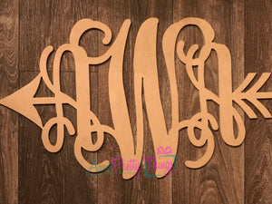 3 Initial Vine Monogram Woodcut With Arrow